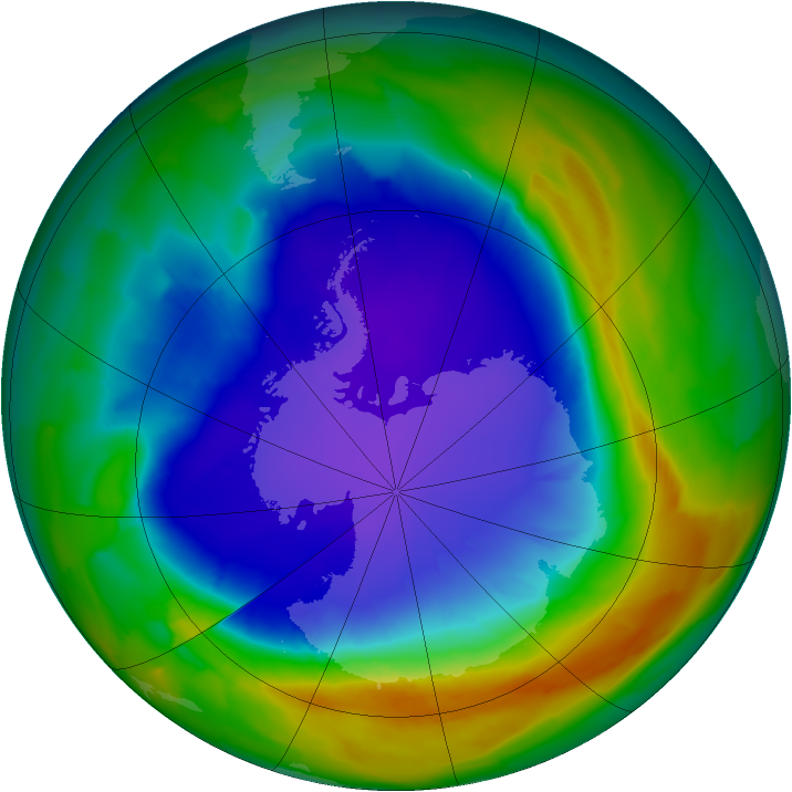 Antarctic ozone map for 30 September 2013