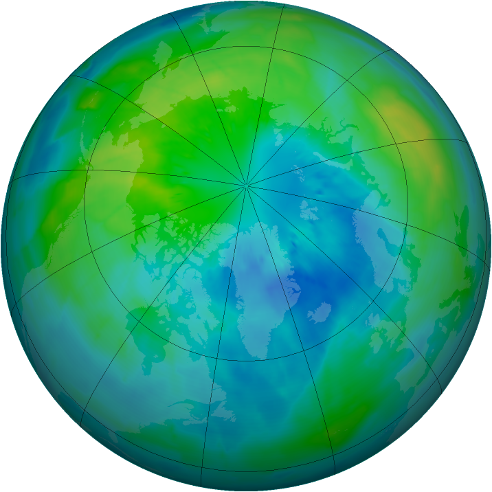 Arctic ozone map for 01 October 2013