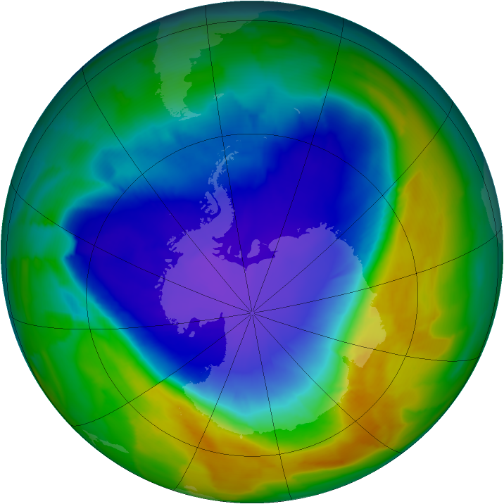 Antarctic ozone map for 02 October 2013