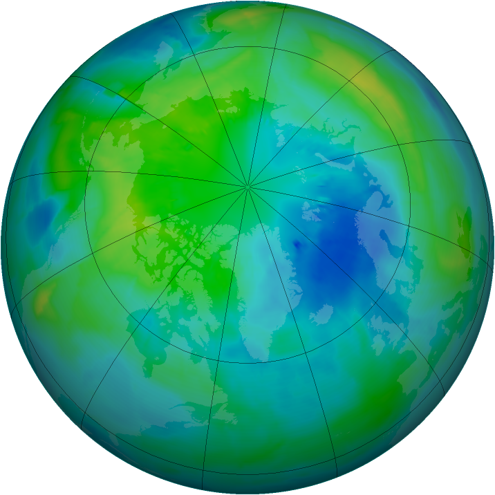 Arctic ozone map for 03 October 2013
