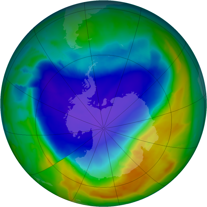 Antarctic ozone map for 03 October 2013