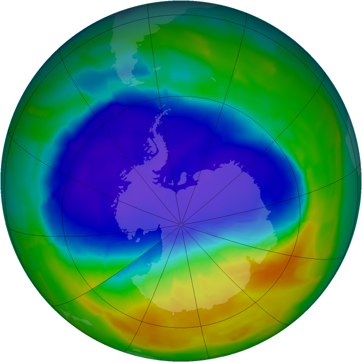 Antarctic ozone map for 05 October 2013