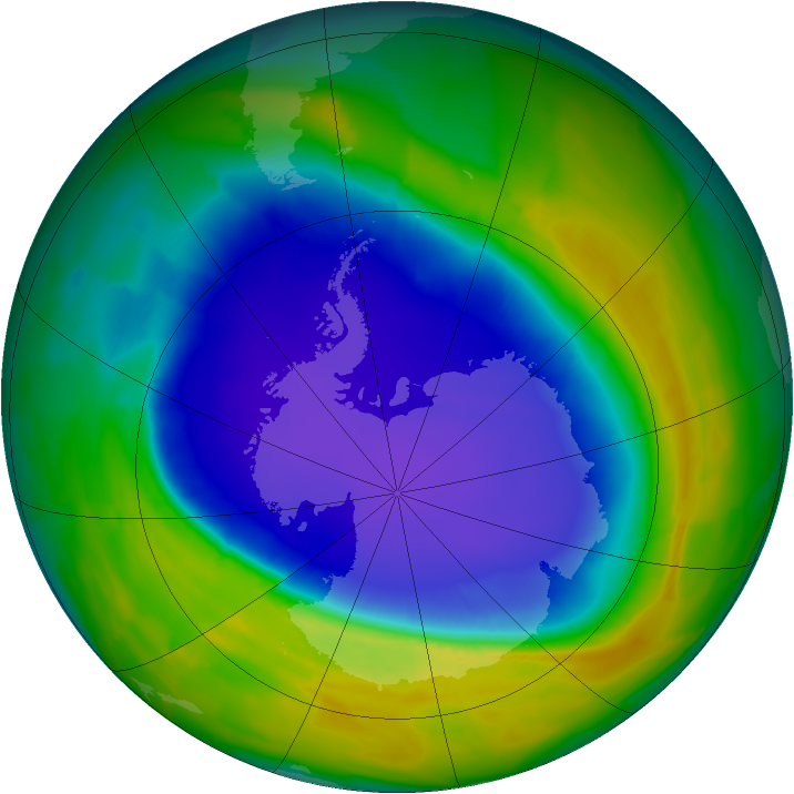 Antarctic ozone map for 09 October 2013