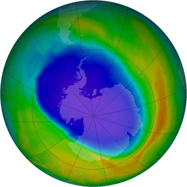 Antarctic ozone map for 10 October 2013