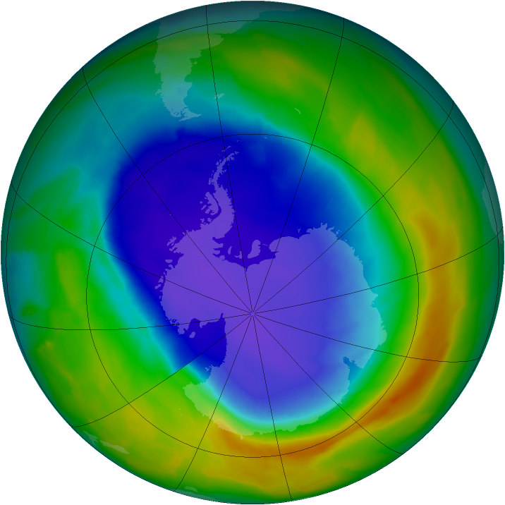 Antarctic ozone map for 11 October 2013
