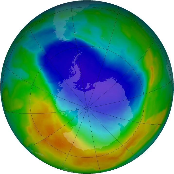 Antarctic ozone map for 15 October 2013