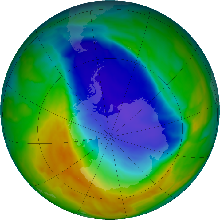 Antarctic ozone map for 16 October 2013