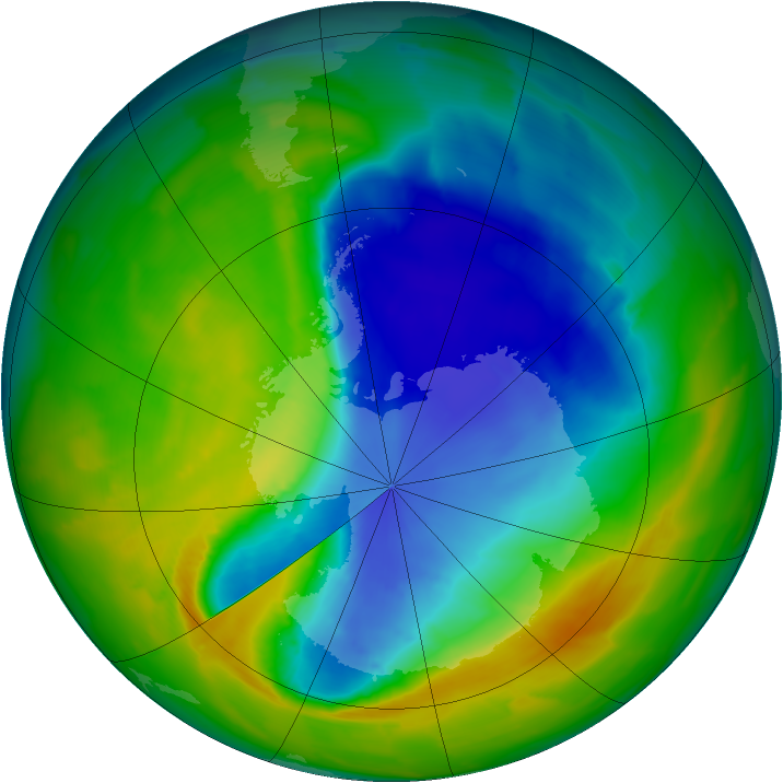 Antarctic ozone map for 20 October 2013