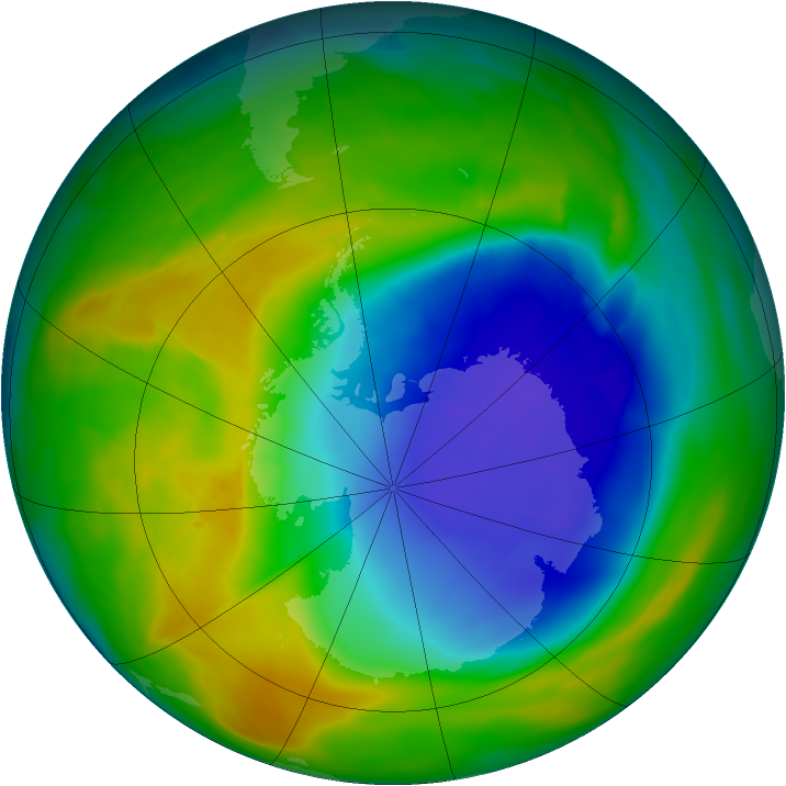 Antarctic ozone map for 26 October 2013