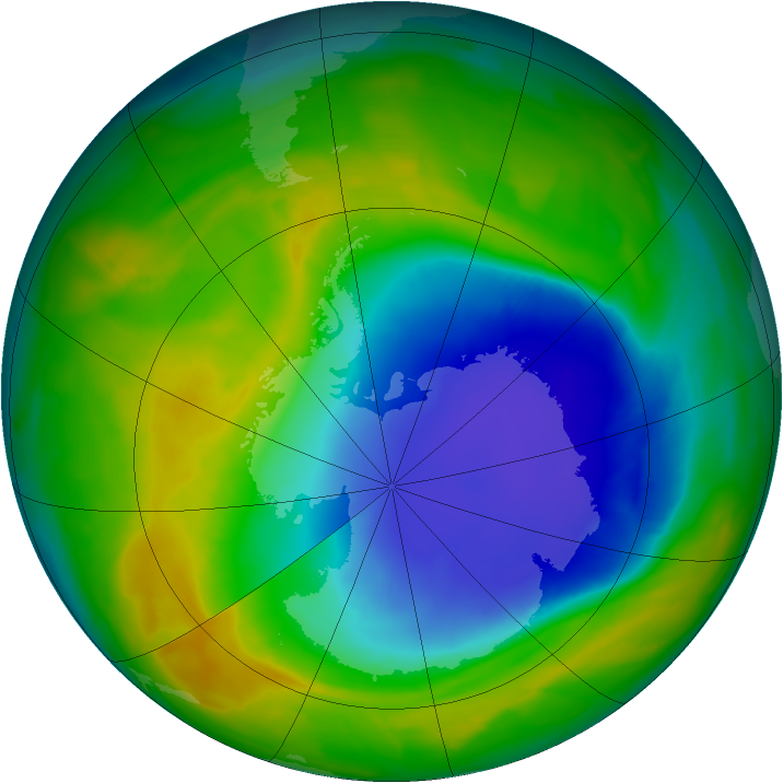 Antarctic ozone map for 27 October 2013