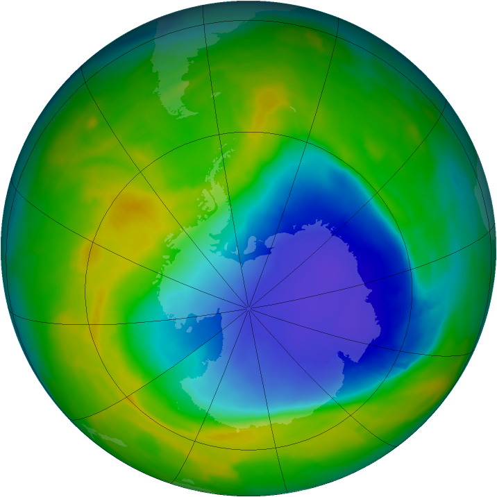 Antarctic ozone map for 28 October 2013