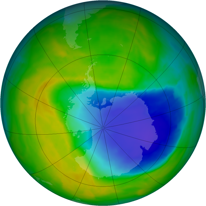 Antarctic ozone map for 30 October 2013