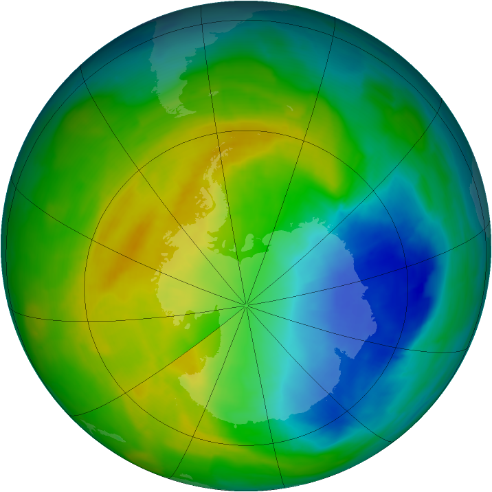 Antarctic ozone map for 04 November 2013