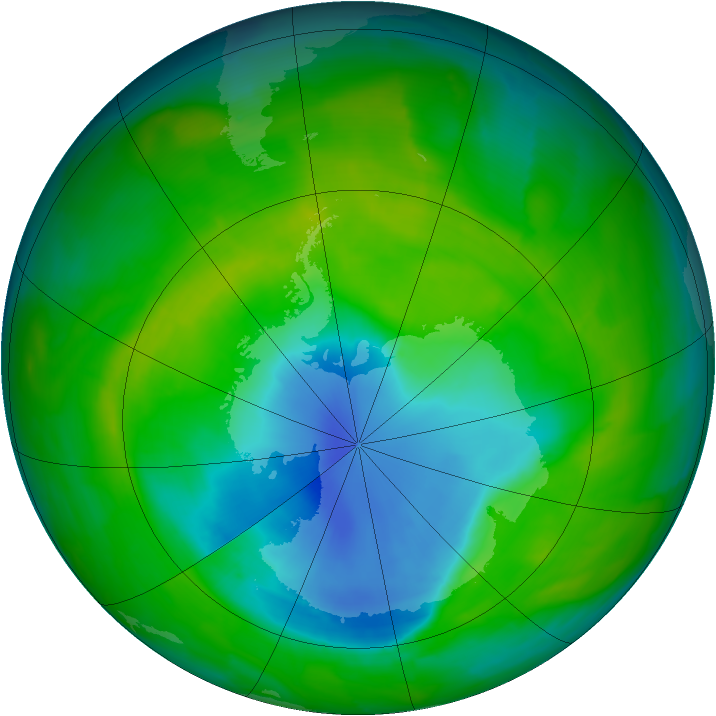 Antarctic ozone map for 13 November 2013