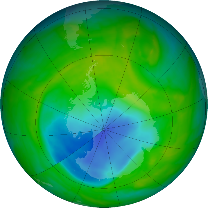 Antarctic ozone map for 14 November 2013