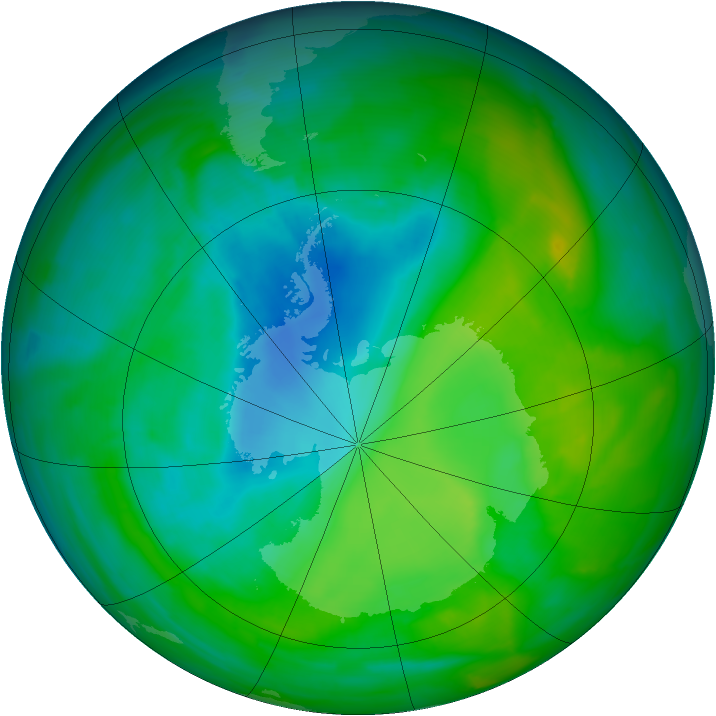 Antarctic ozone map for 23 November 2013