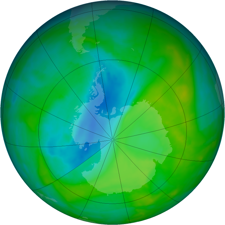Antarctic ozone map for 24 November 2013