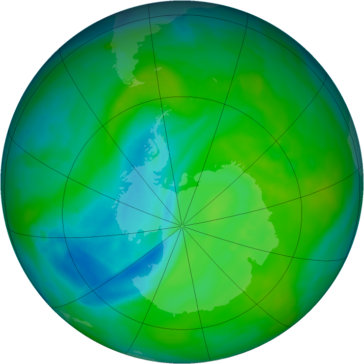 Antarctic ozone map for 27 November 2013