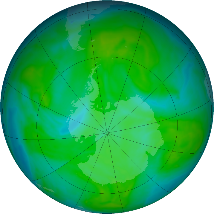 Antarctic ozone map for 08 December 2013