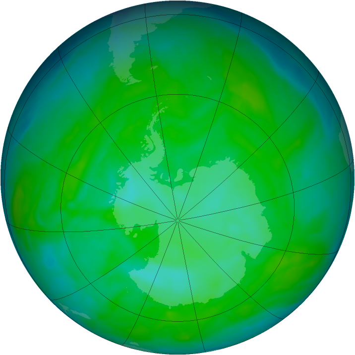 Antarctic ozone map for 12 December 2013