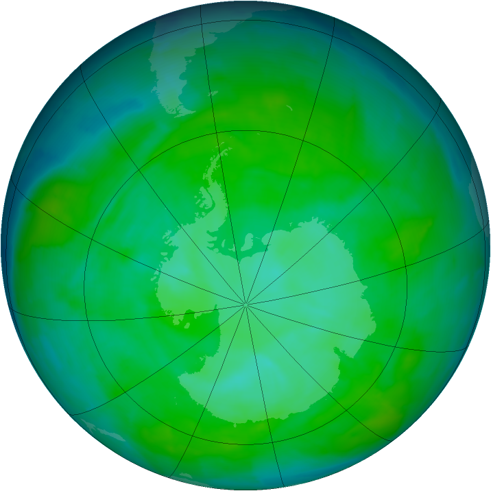 Antarctic ozone map for 14 December 2013