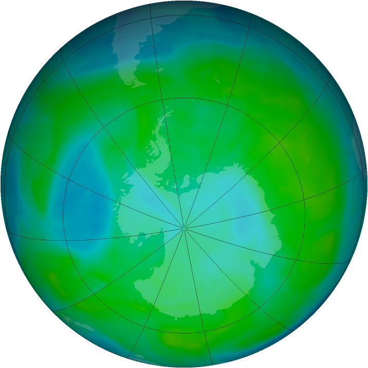 Antarctic ozone map for 23 December 2013