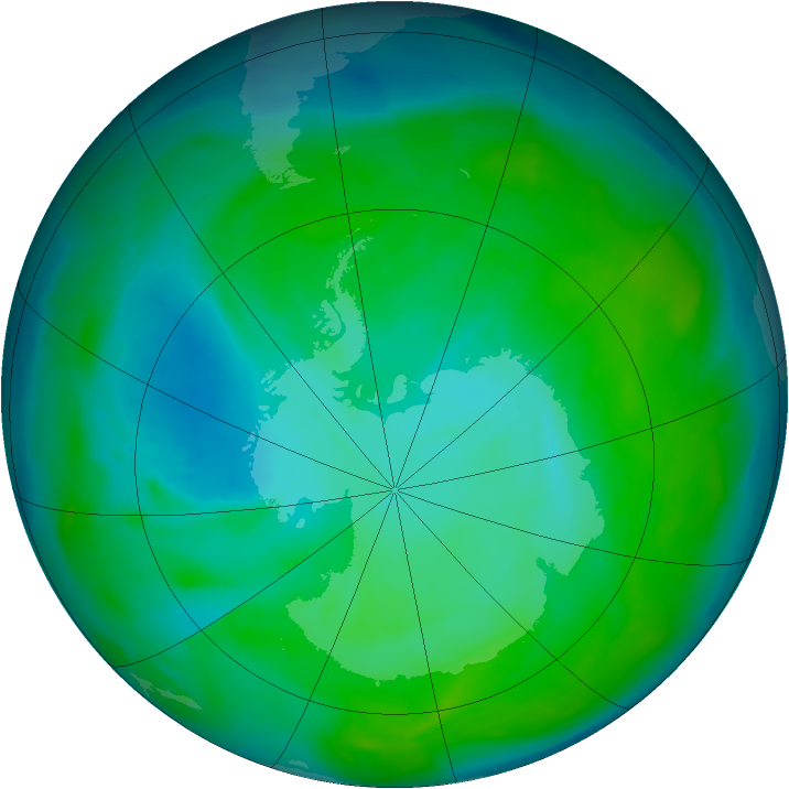 Antarctic ozone map for 25 December 2013