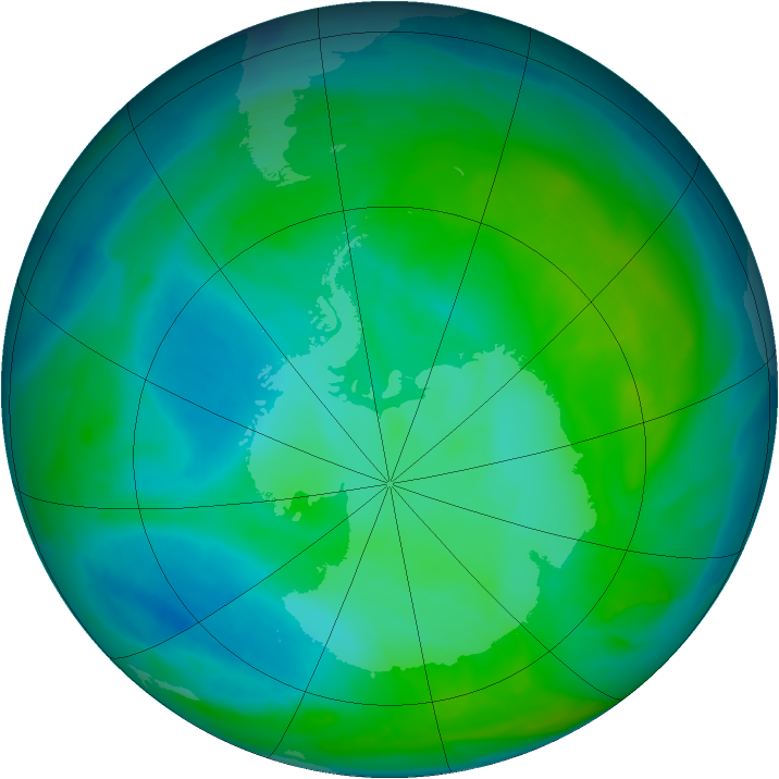 Antarctic ozone map for 30 December 2013