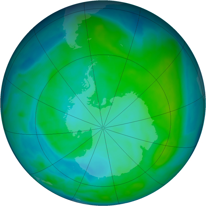 Antarctic ozone map for 03 January 2014