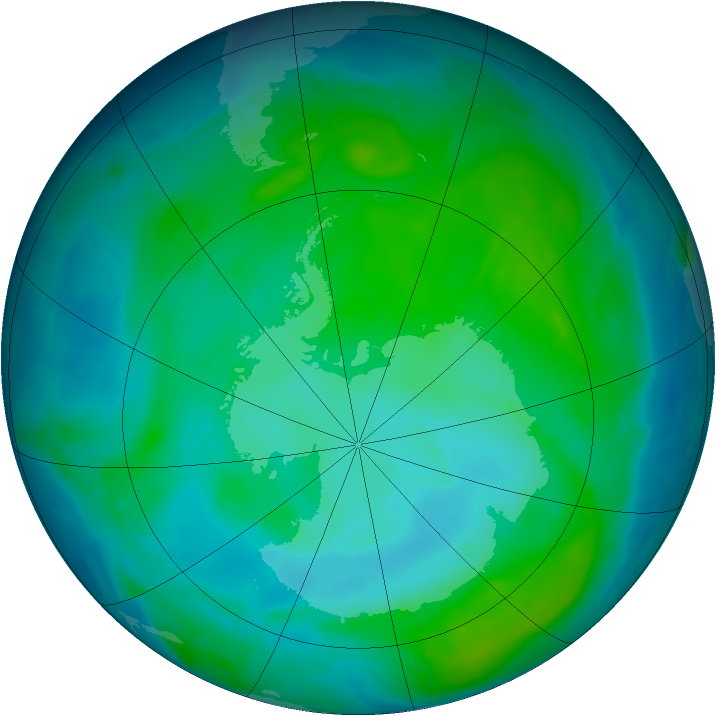 Antarctic ozone map for 07 January 2014