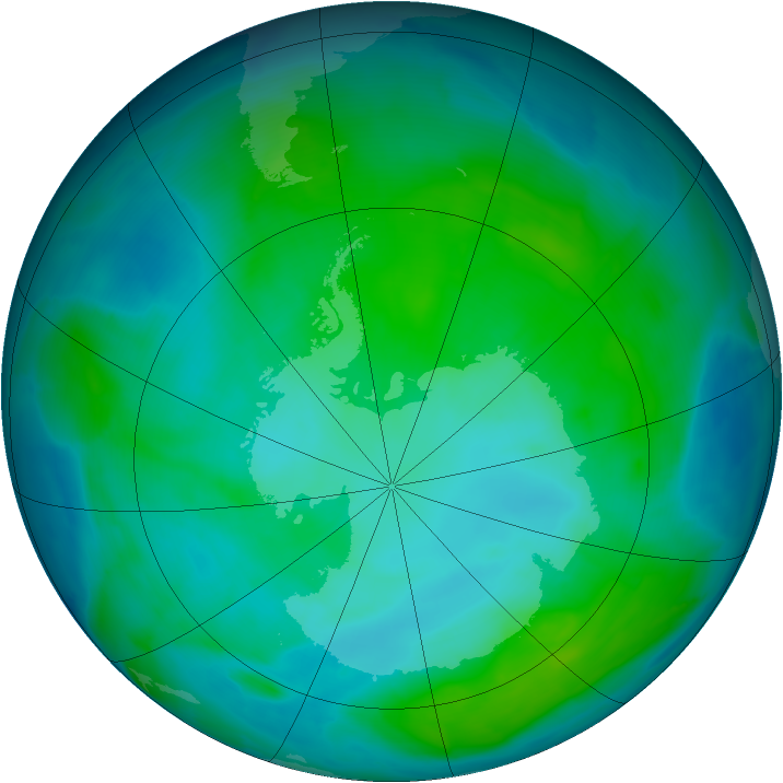 Antarctic ozone map for 09 January 2014