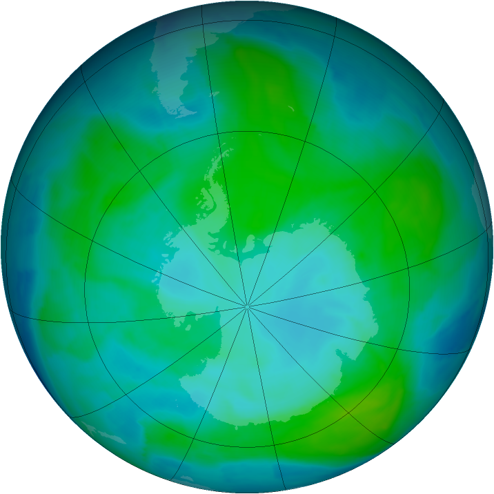 Antarctic ozone map for 11 January 2014