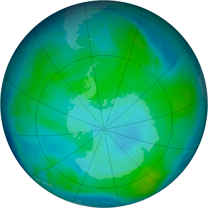 Antarctic ozone map for 12 January 2014