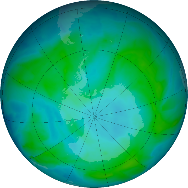 Antarctic ozone map for 14 January 2014