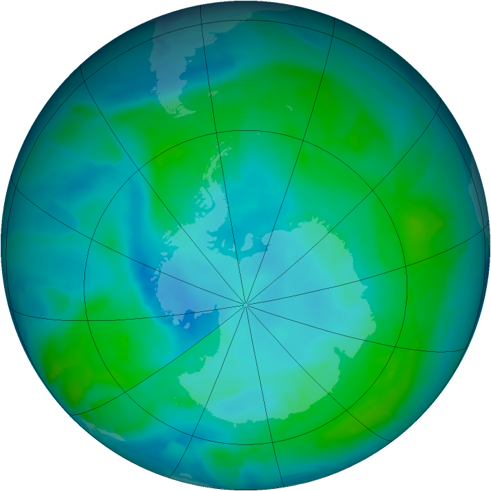 Antarctic ozone map for 17 January 2014