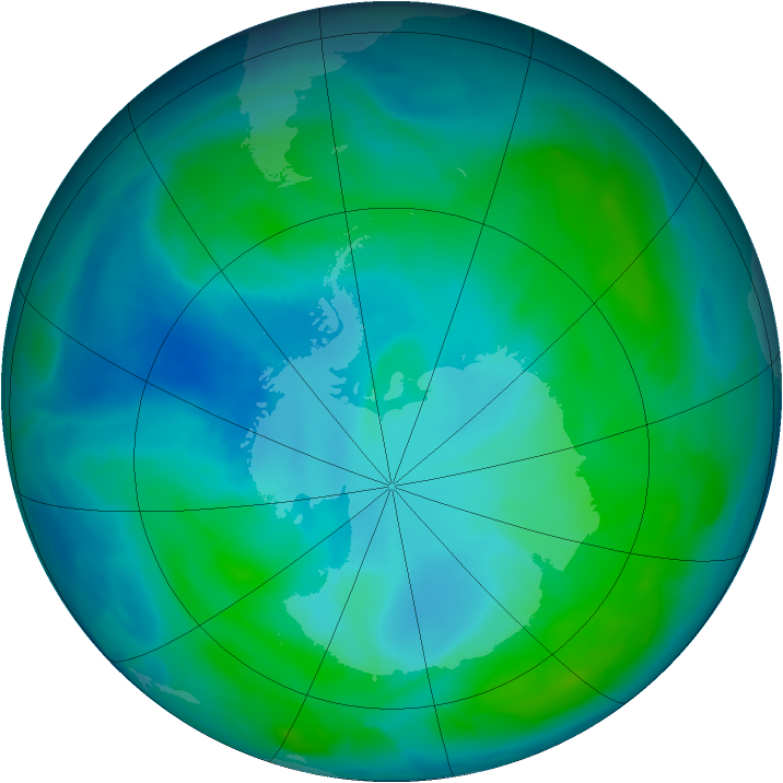 Antarctic ozone map for 21 January 2014