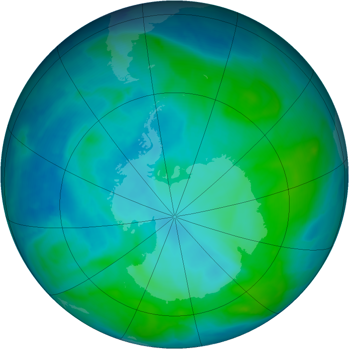 Antarctic ozone map for 24 January 2014