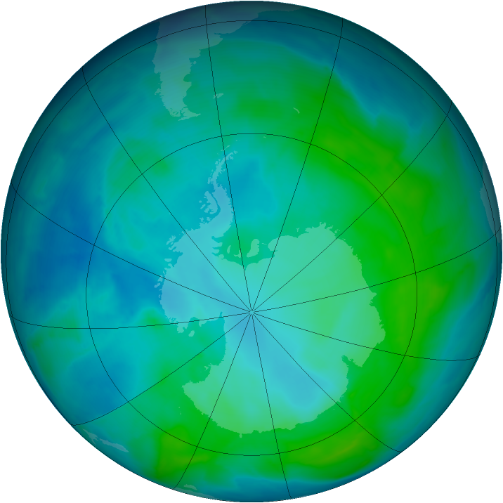Antarctic ozone map for 25 January 2014