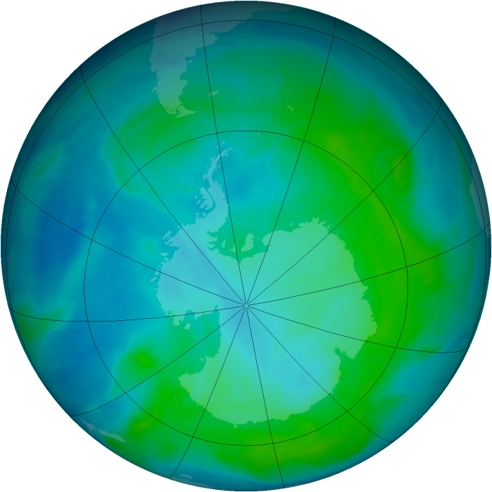 Antarctic ozone map for 26 January 2014