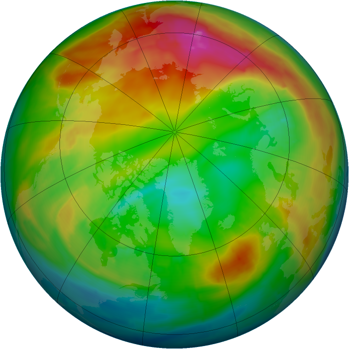 Arctic ozone map for 31 January 2014