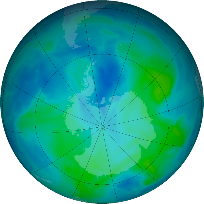 Antarctic ozone map for 26 February 2014