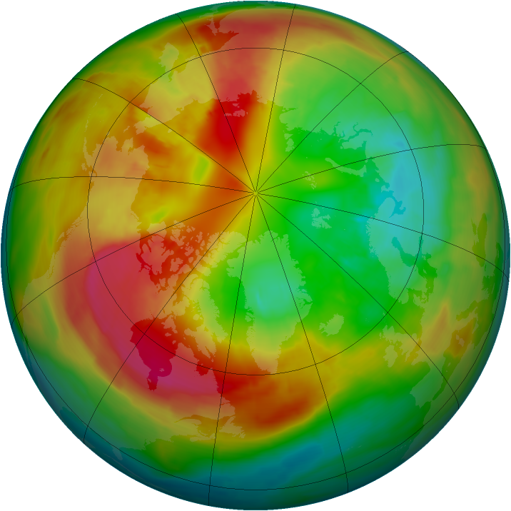 Arctic ozone map for 01 March 2014