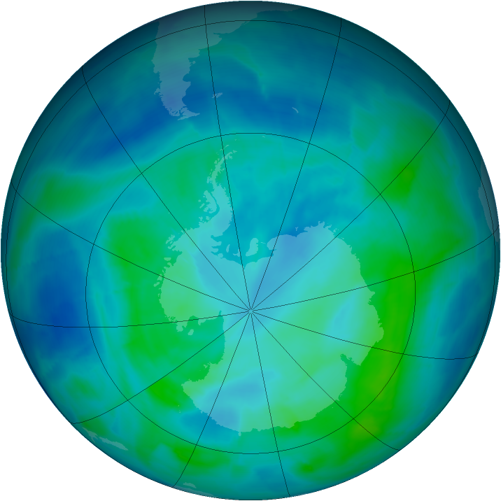 Antarctic ozone map for 01 March 2014
