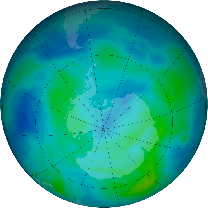 Antarctic ozone map for 02 March 2014