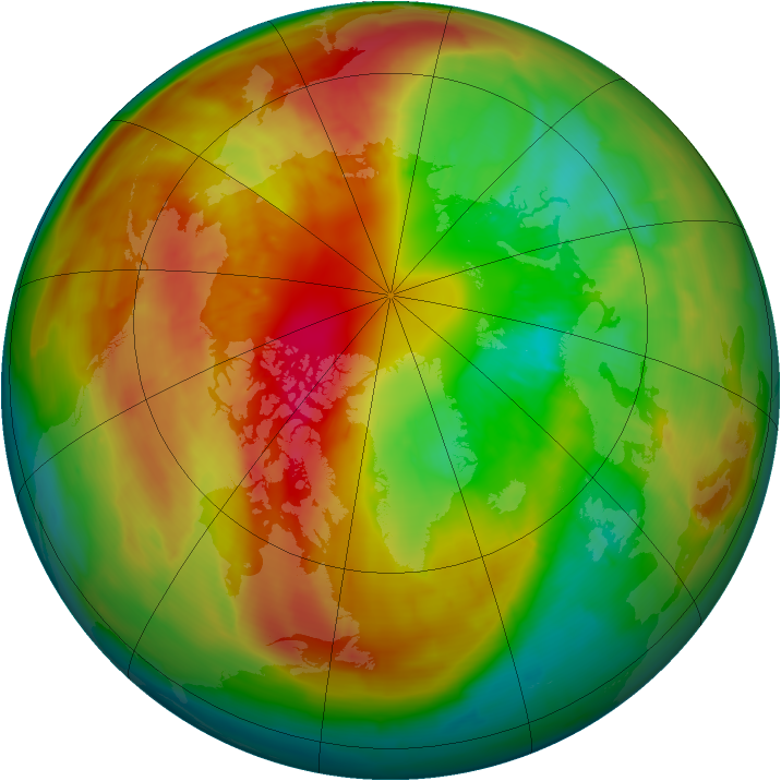 Arctic ozone map for 05 March 2014