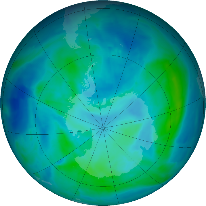 Antarctic ozone map for 06 March 2014