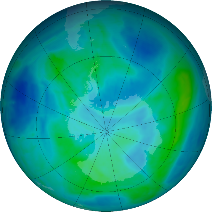 Antarctic ozone map for 07 March 2014