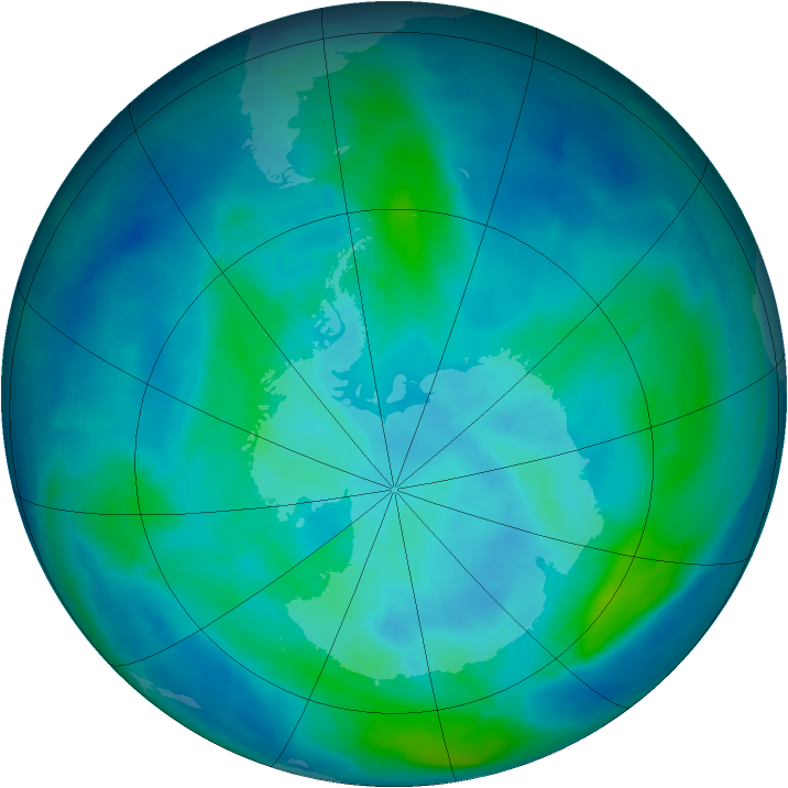 Antarctic ozone map for 10 March 2014