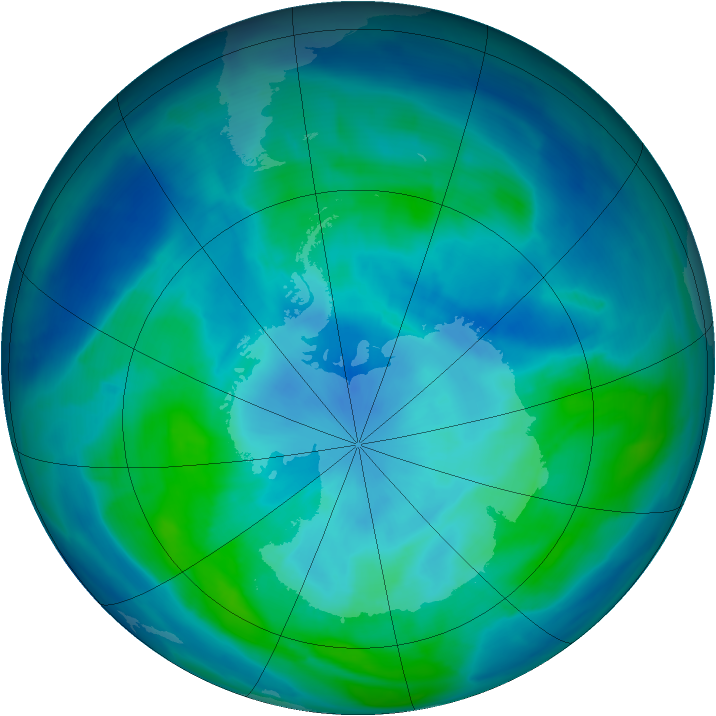 Antarctic ozone map for 14 March 2014