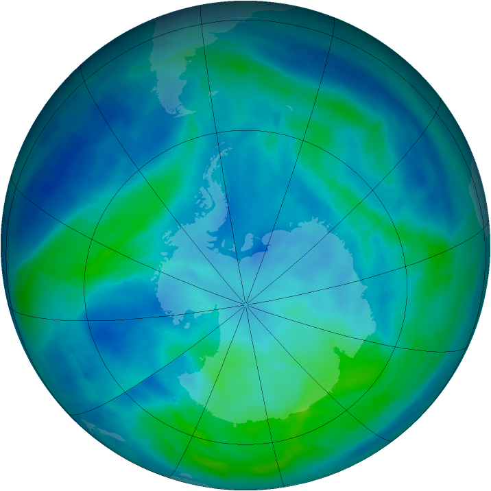 Antarctic ozone map for 17 March 2014